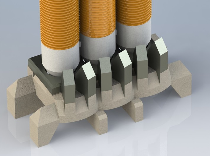 1/400 Delta IV Heavy with Orion Service Module 3d printed CAD render of launch pad/base from rear.