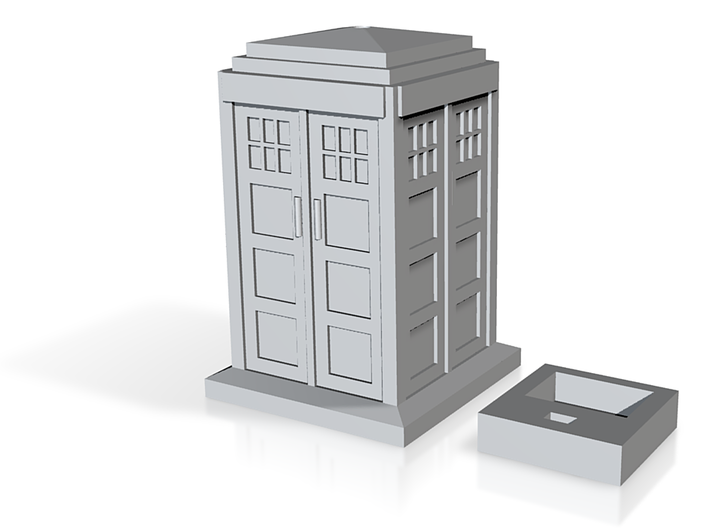 Tardis with LED hole and 9V battery holder 3d printed