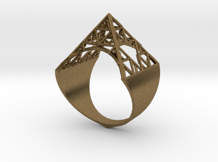 Sierpinski Pyramid Ring (feminine version) size 9 3d printed