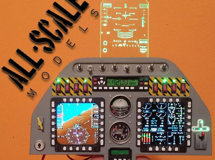 Elite Aerosport Shockwave RC jet instrument panel 3d printed shown with screens and HUD not included