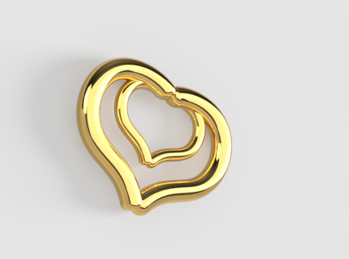 I Love You Two Hearts (Pendant or Earring) 3d printed