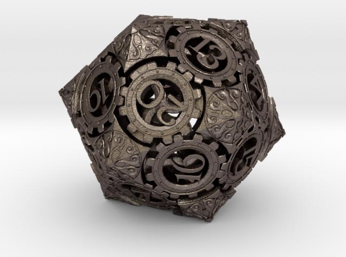 Steampunk D20 (3cm Spindown) 3d printed