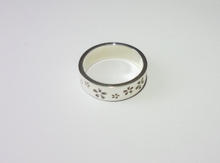 Sakura Always Remember Ring 3d printed Premium Silver