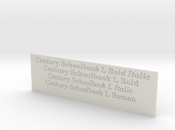 Font Samples - Century Schoolbook L 3d printed