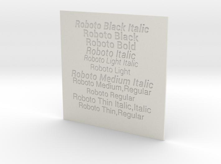 Font Samples - Roboto 3d printed