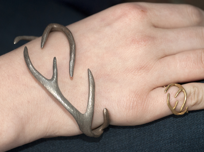 Antlers Ring 17mm  3d printed Shown with stainless steel bracelet