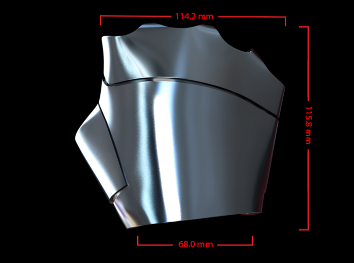 Metal Iron Man Right Palm Armor (Size Medium) 3d printed CG Render (Top Measurements)