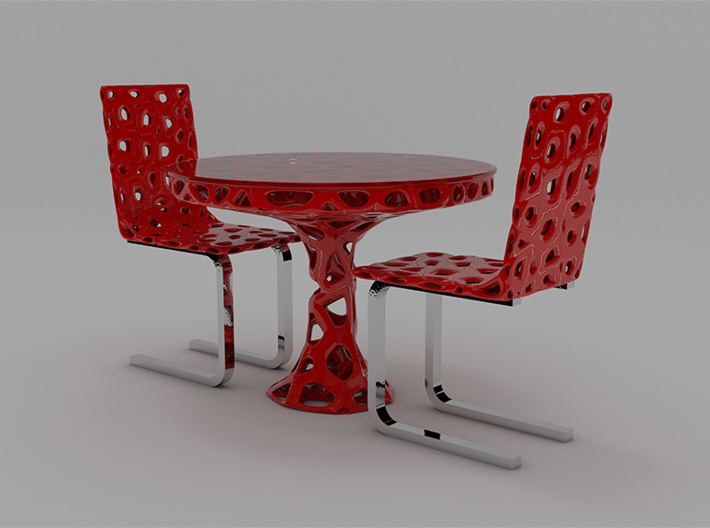 Voronoi Organic Chair and Table Set 3d printed
