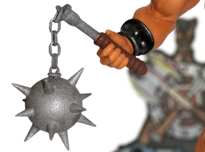 Savage Mace 3d printed Painted Prototype printed in White Strong & Flexible Polished