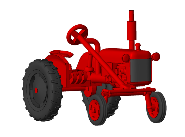 1-64 Scale 1950 Potato Tractor 3d printed Shown with wheels on.