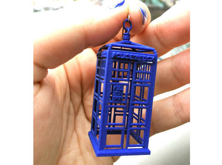 Police Box Statement Earrings 3d printed