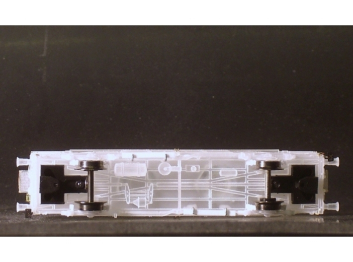 1/148 German train-ferry van E277 3d printed Bottom view with close coupler motion link