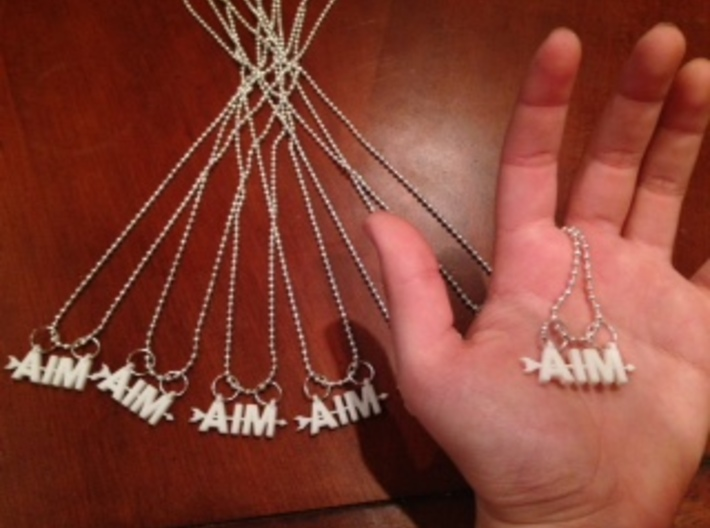 Aim Pendant 3d printed My hand is for a size reference.