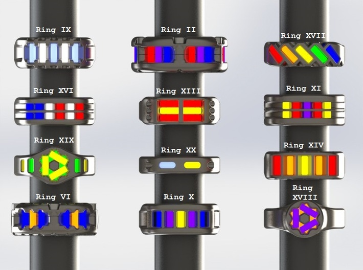 US10 Ring XVII: Tritium 3d printed This render shows the various ring designs that can made available and possible tritium vial arrangements.