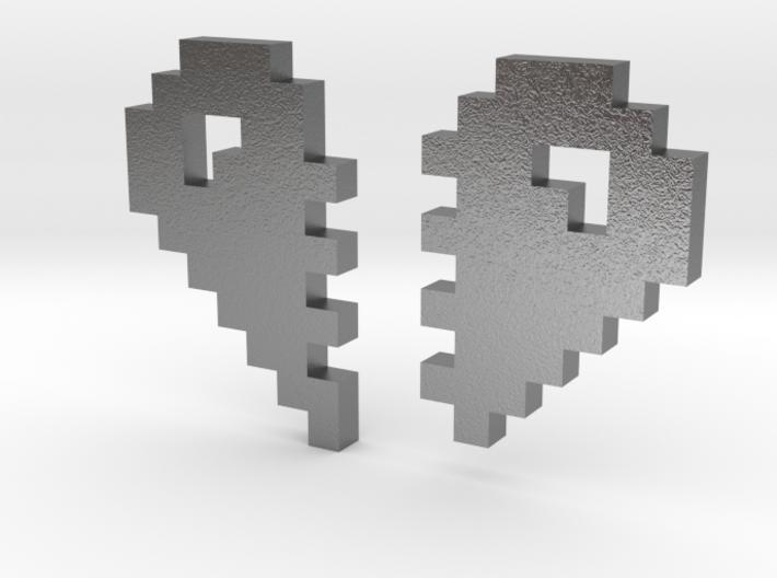 2 Halfs of an 8 Bit Heart (Pixel Heart) 3d printed