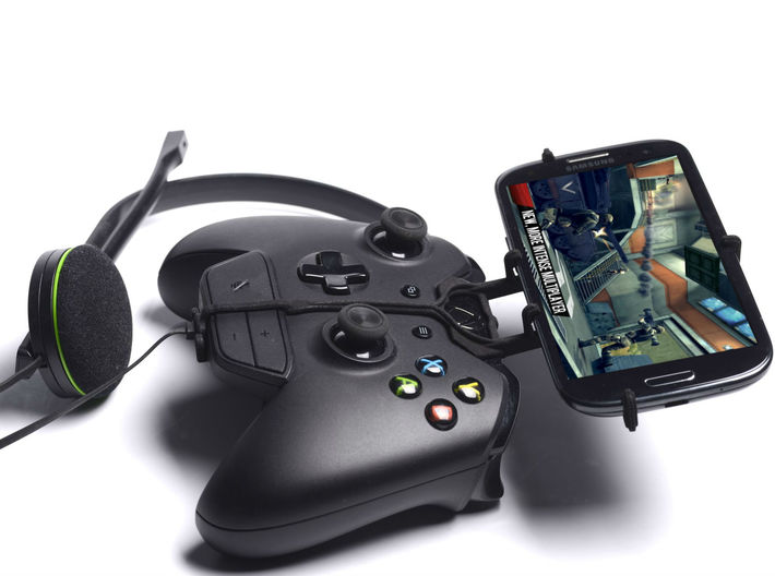 Xbox One controller & chat & Micromax A47 Bolt 3d printed Side View - A Samsung Galaxy S3 and a black Xbox One controller & chat