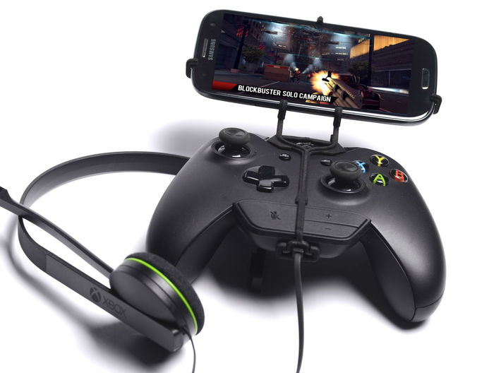 Xbox One controller & chat & XOLO Q1000s plus 3d printed Front View - A Samsung Galaxy S3 and a black Xbox One controller & chat