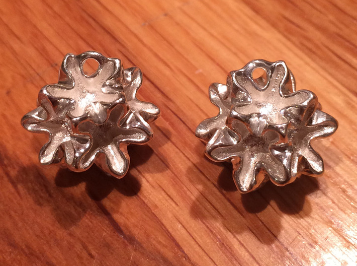 Imploded star earrings 3d printed 3d printed model without earhooks