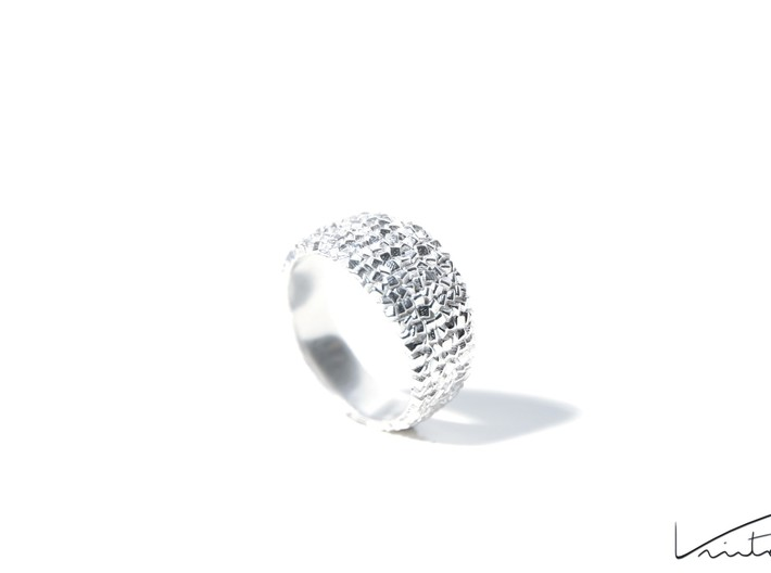 Thousand Cubes ring 3d printed Raw Silver