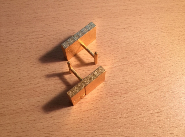 Golden Rectangle Cufflinks 3d printed Single hook for French cuffs.