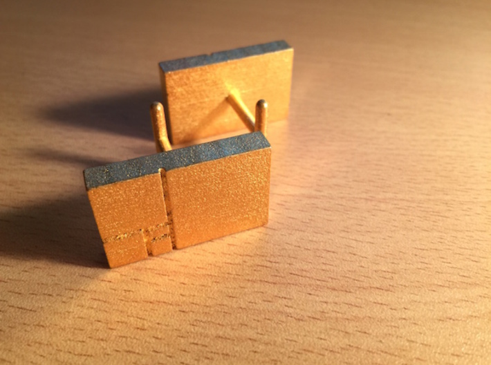 Golden Rectangle Cufflinks 3d printed The gold really shines.