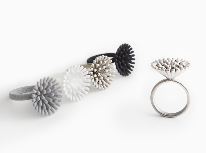Spike Ring - US 5 size 3d printed Metallic Plastic, Strong & Flexible Plastic White Polished and Black, Polished Nickel Steel