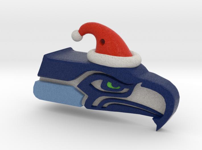 Seahawk Santa Ornament 3d printed