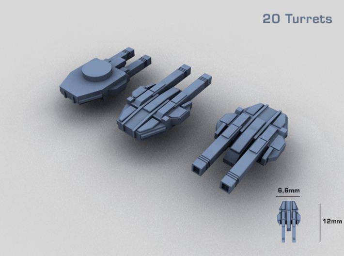 20 Starship twin turrets – MECHWORLD HOMEFLEET 3d printed Rendering - there are 20