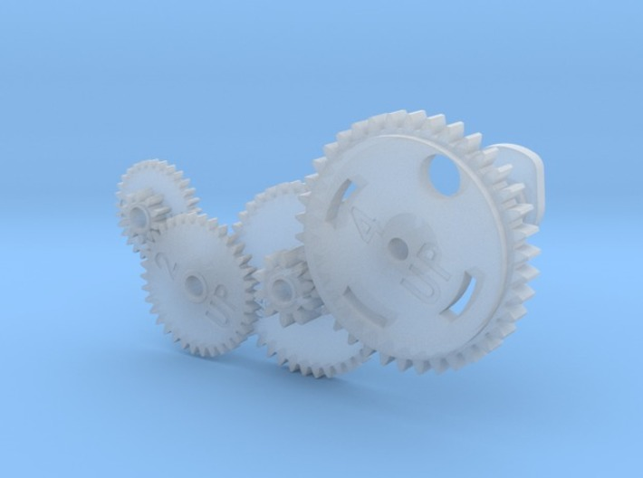 Gear set for vintage Mac 400/800k Floppy drives 3d printed You will get 4 gears and a retainer ring.