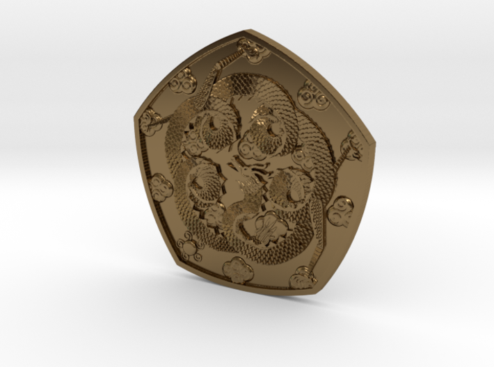 Polished Dragon Coin 3d printed