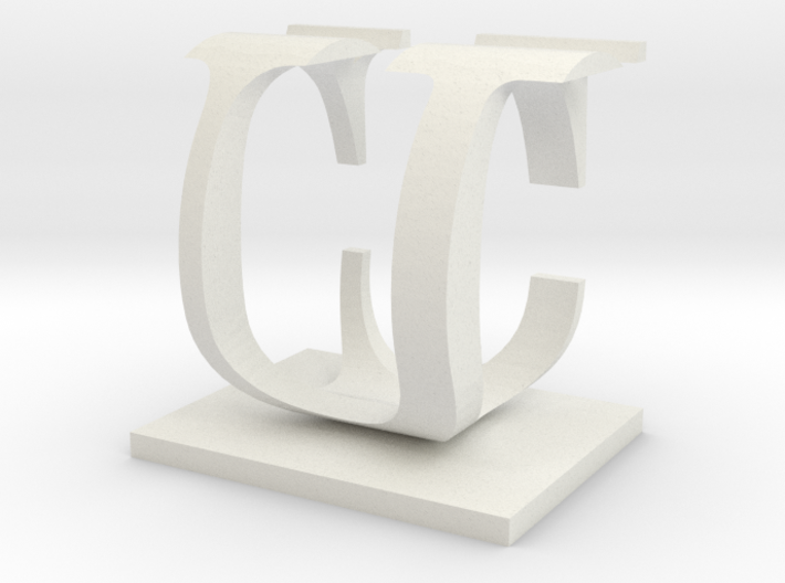 Two way letter / initial C&U 3d printed