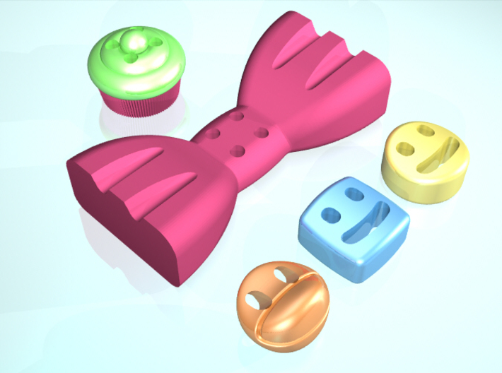5 Mmoduttons to add to happiness 3d printed Add a caption...