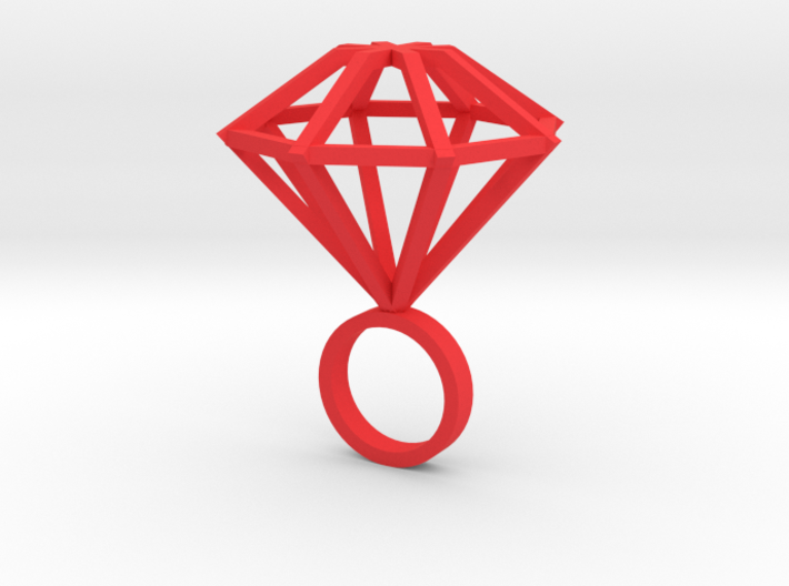 Big Diamond Ring - size 6 3d printed
