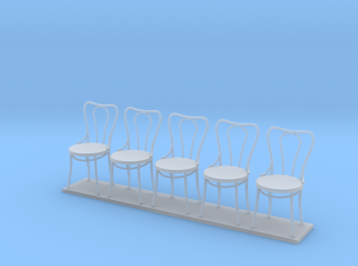 Miniature 1:24 Bentwood Camel Back Chairs (5) 3d printed