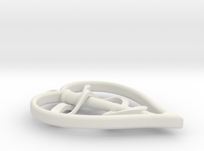 Staff of Asclepius in Heart Pendant 3d printed
