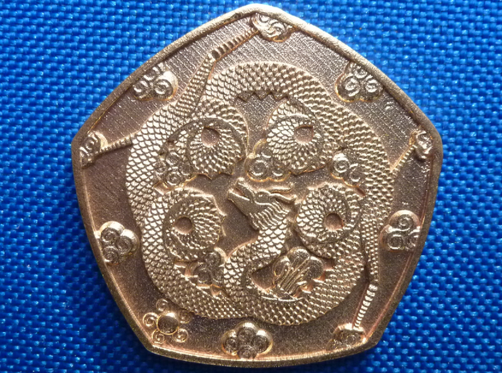 Detailed Dragon Coin 3d printed Dragon side