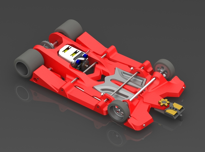 """888sr (1/24 """"spec_racer"""" slot car chassis 4.0"""" wb) 3d printed Shown with optional tuning weight"""