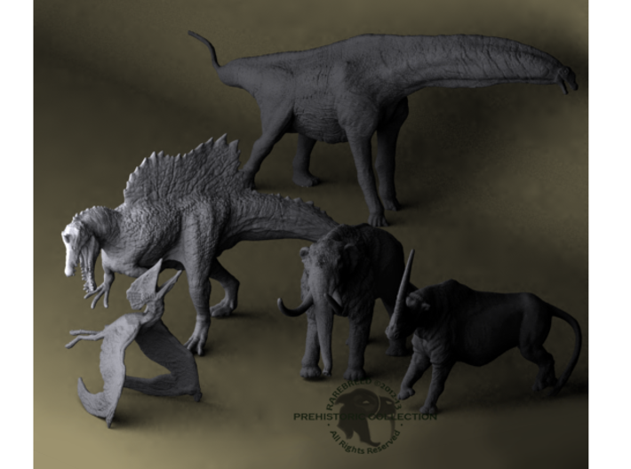 Mini Prehistoric Collection 1 3d printed Miniature dinosaur set by ©2012-2014 RareBreed