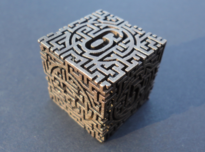 Labyrinthine d6 3d printed In polished bronze steel