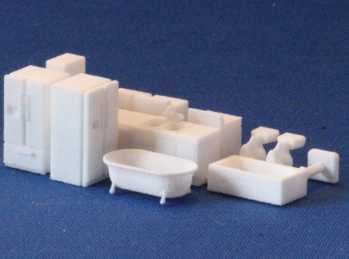 Kitchen and Bath Stuff HO Scale 3d printed Add a caption...