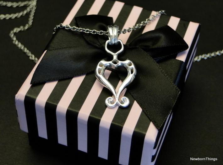 Pendant Higher Love V02 3d printed Romantic Pendant with Heart -Box & Chain not included