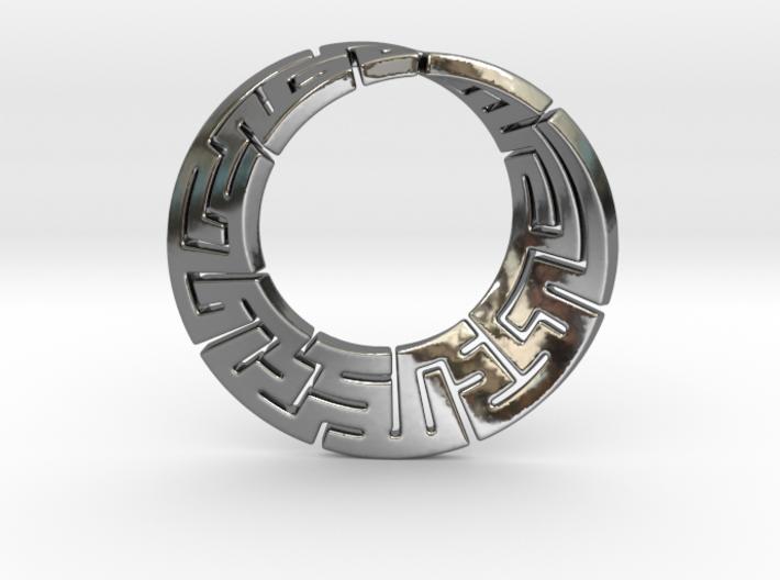 Double endless mobius maze pendant 3d printed
