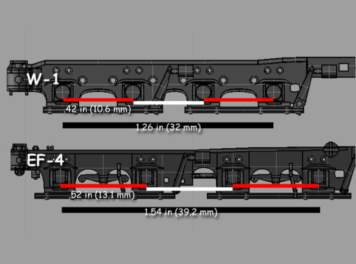 GN W-1 Heavy Electric Great Northern 3d printed Model measurements to illustrate differences between the EF-4 truck and W-1 truck