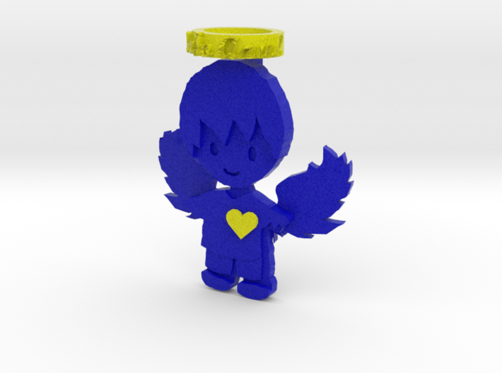 Pendant Full Color Blue Angel Boy 3d printed