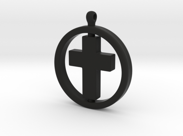 Cross with spinning ring 3d printed