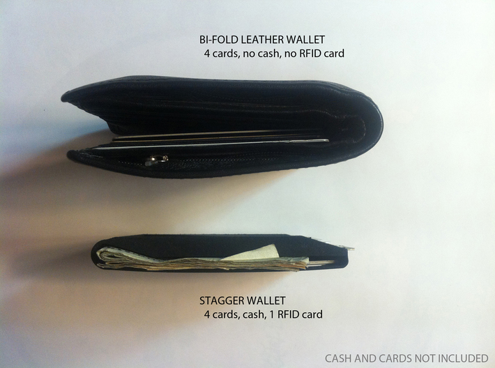 Stagger Wallet 3d printed Stagger wallet compared to leather wallet