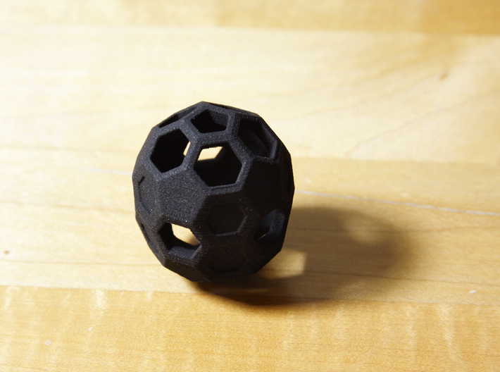 Buckyball C70 3d printed The real product in black plastic.