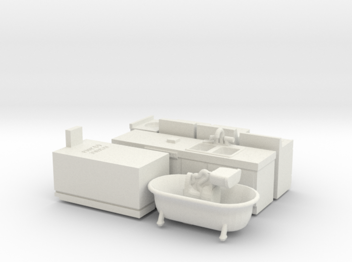O Scale Kitchen and Bath Fixtures 3d printed