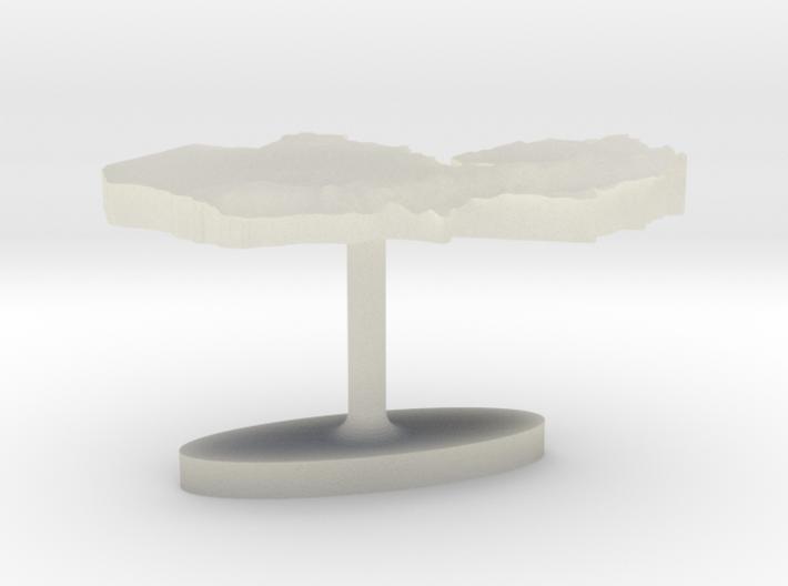 Zambia Terrain Cufflink - Flat 3d printed