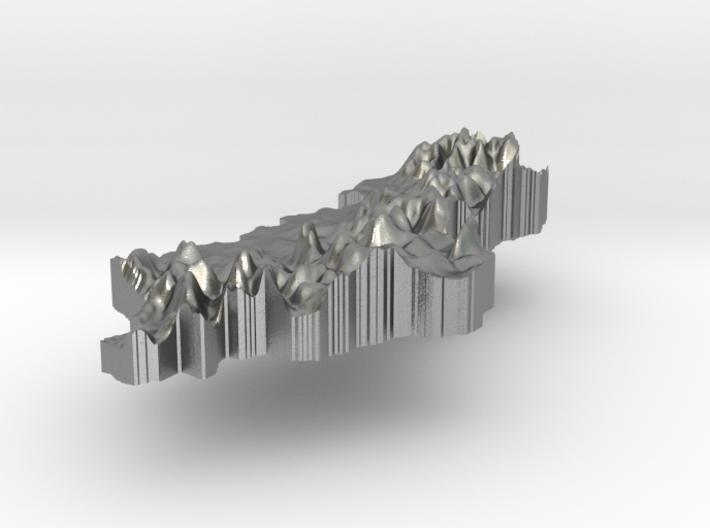 Albania Terrain Silver Pendant 3d printed